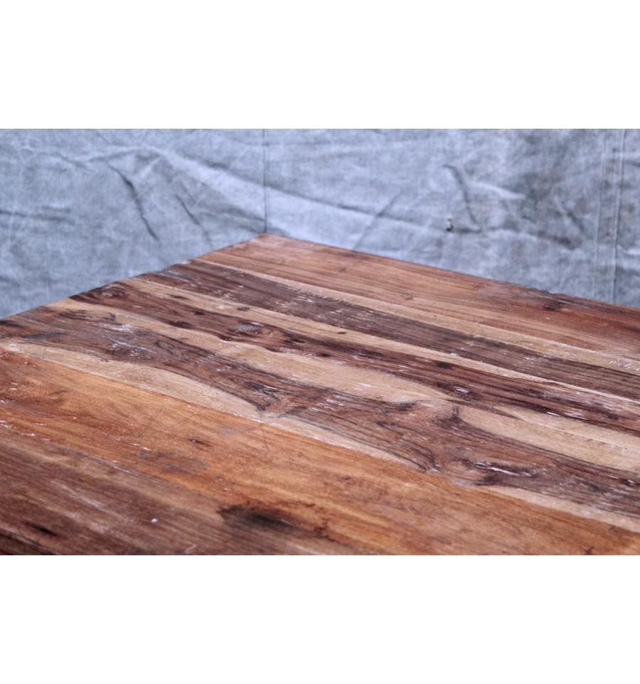Table basse en acier et bois vintage industriel for Table basse acier bois