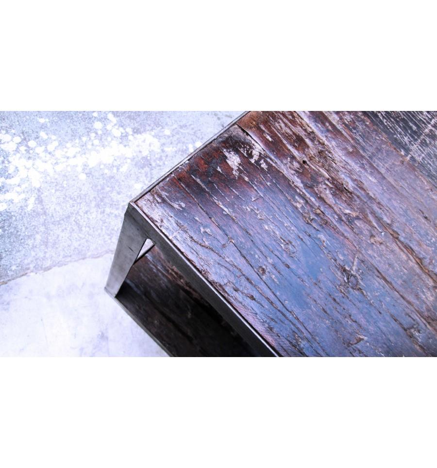 table basse bois et acier vintage industriel. Black Bedroom Furniture Sets. Home Design Ideas