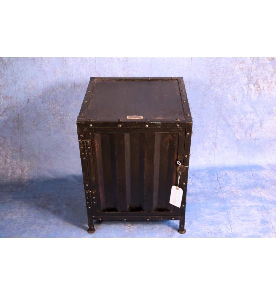Table de nuit meuble d 39 appoint fa on container vintage - Table de nuit industriel ...