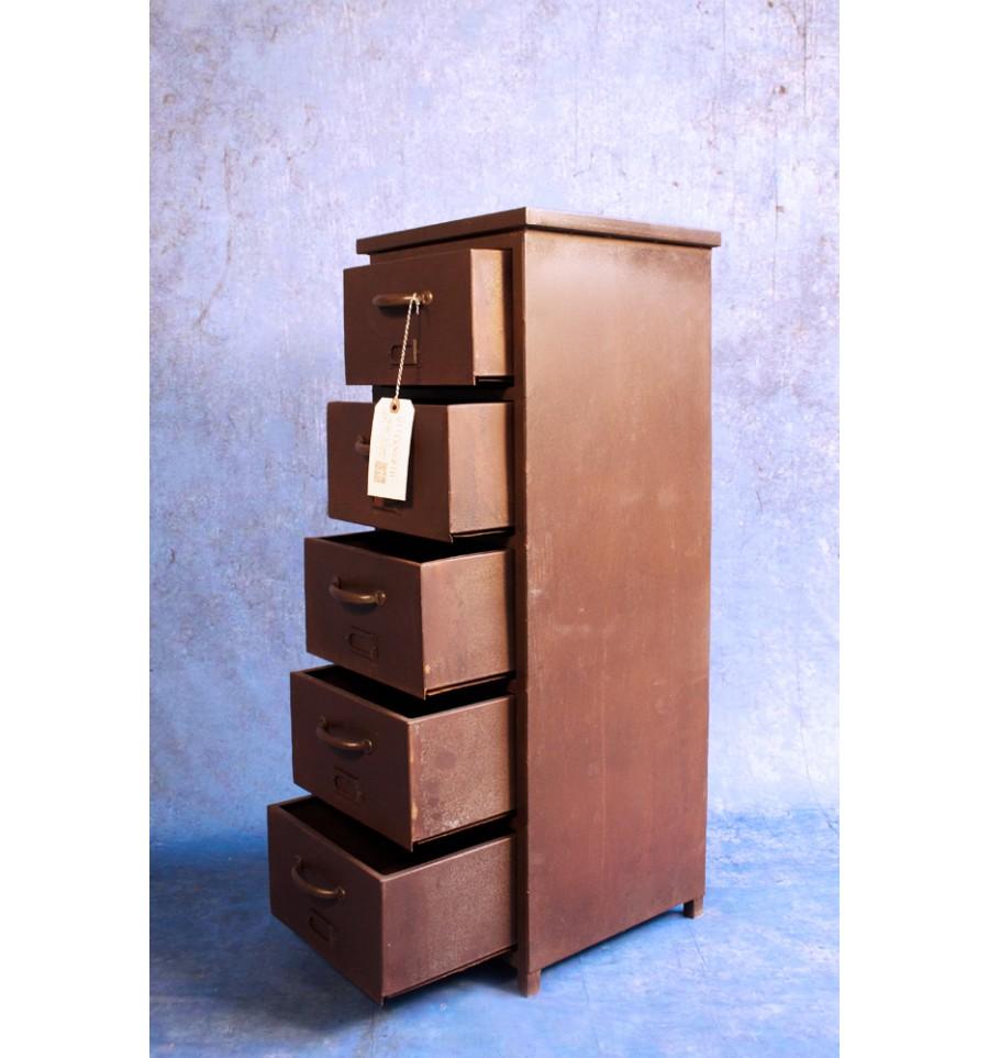 Meuble colonne 5 tiroirs en acier vintage industriel for Meuble retro industriel