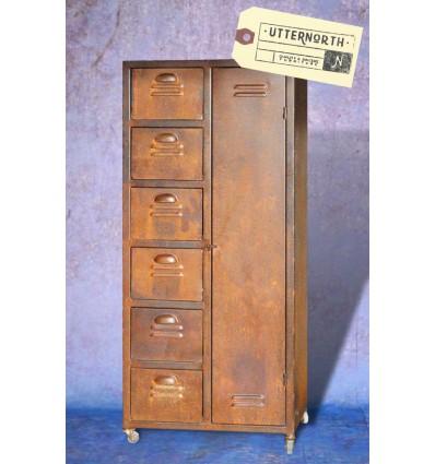 armoire en acier 1 porte 6 tiroirs vintage industriel. Black Bedroom Furniture Sets. Home Design Ideas