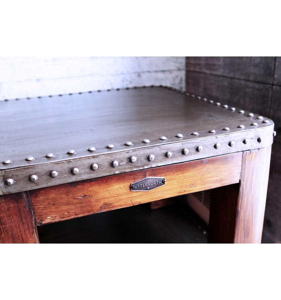 Table basse bois et acier vintage industriel - Table basse acier bois ...