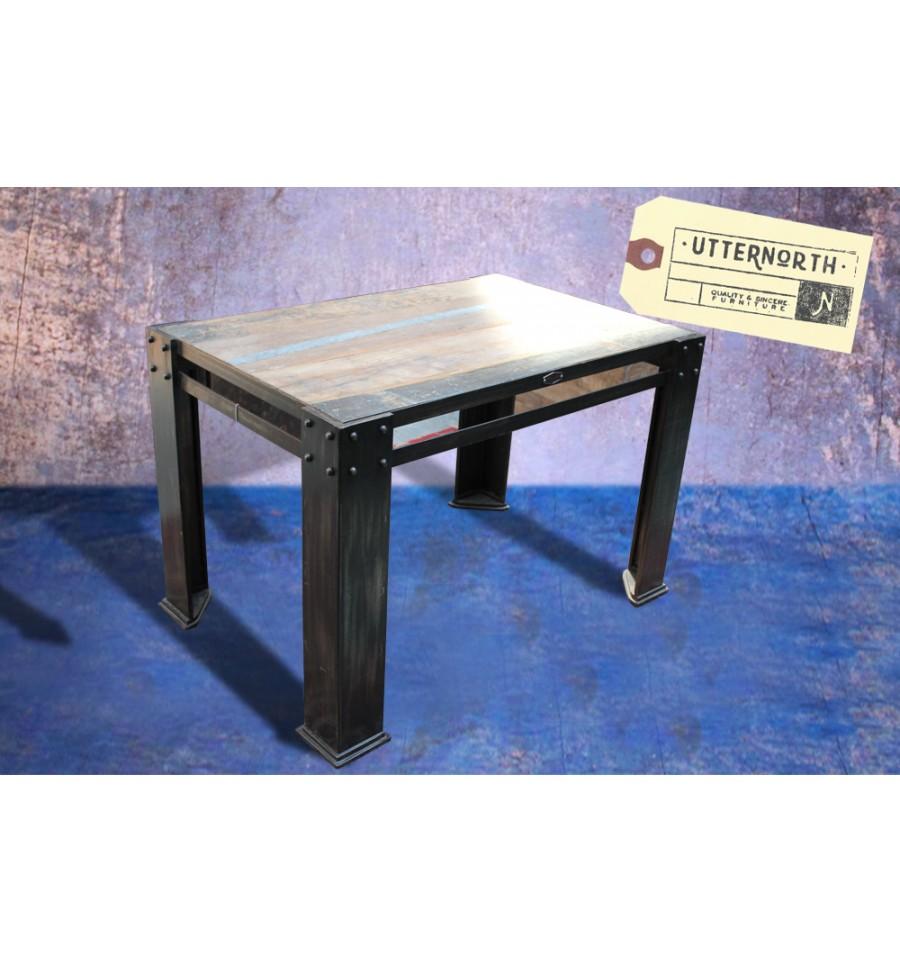 table en bois et acier vintage industriel. Black Bedroom Furniture Sets. Home Design Ideas