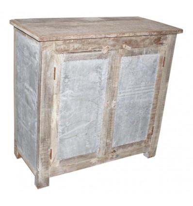 Buffet en bois et portes plaquées en acier zingué Vintage Industriel