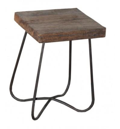 Tabouret bois et trepied acier Vintage Industriel