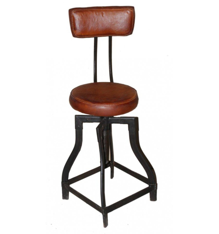 tabouret haut en cuir avec dossier vintage industriel. Black Bedroom Furniture Sets. Home Design Ideas