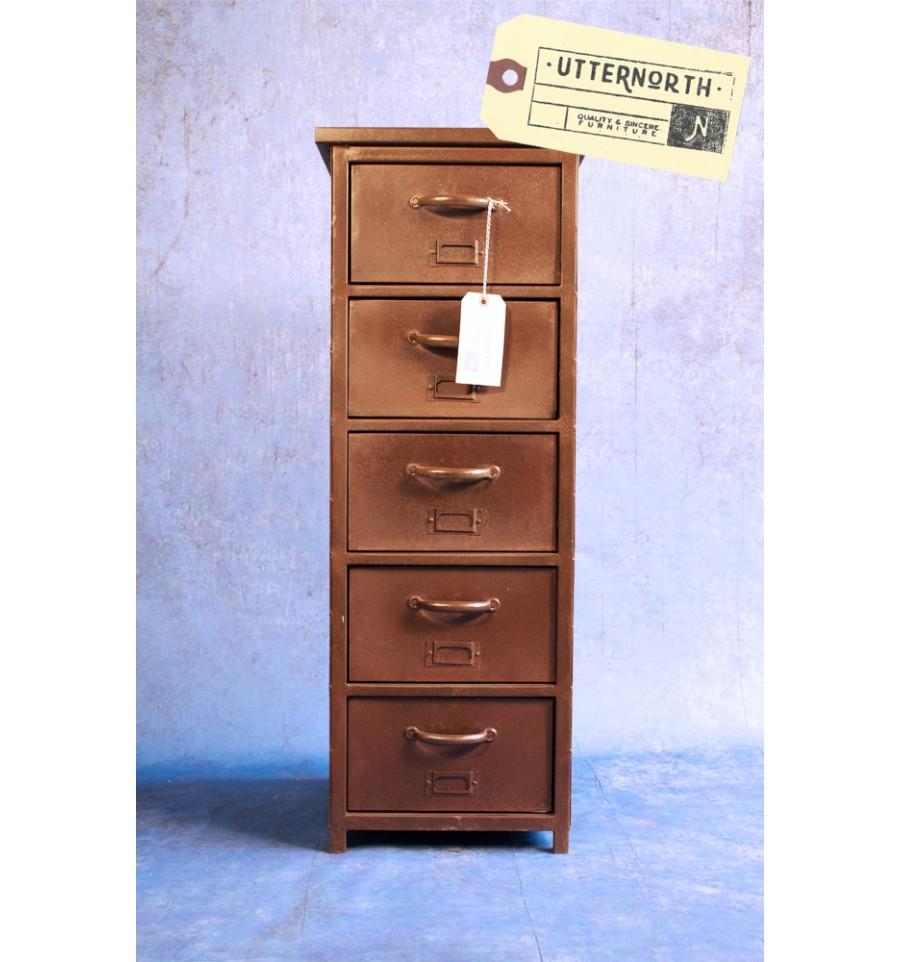 meuble colonne 5 tiroirs en acier vintage industriel. Black Bedroom Furniture Sets. Home Design Ideas