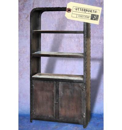 Bibliothèque en acier et en bois Vintage Industriel
