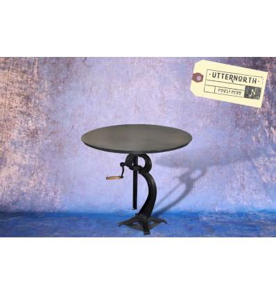 Table à manivelle en acier Vintage Industriel