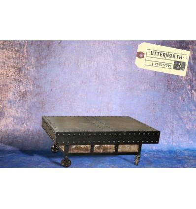 Table à roulettes en acier Vintage Industriel