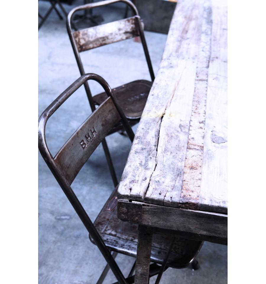 Chaise Pliante Acier Vintage Industriel